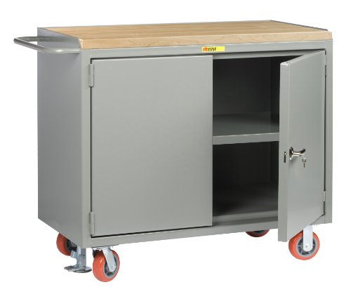 Little Giant MJ3-2D-2448-FL Locking Doors Mobile Bench Cabinet with Center Shelf and 1-3/4 Butcher Block Top, 3600 lbs Capacity, 48