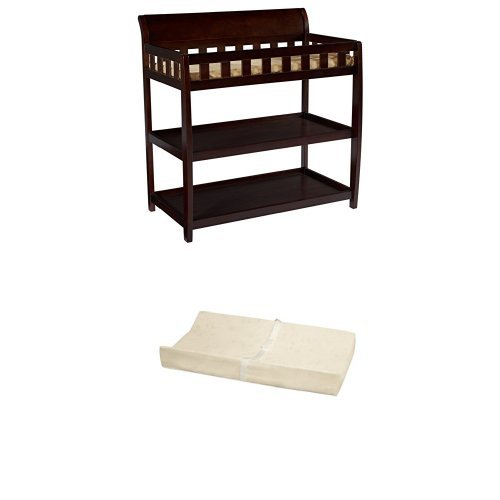 Delta Children Bentley Changing Table, Chocolate and Simmons Kids Beautysleep Naturally Contour Pad