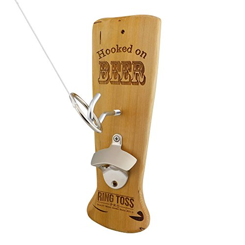 Beer Hook & Ring Toss Game + Bottle Opener by Ring Toss Pro