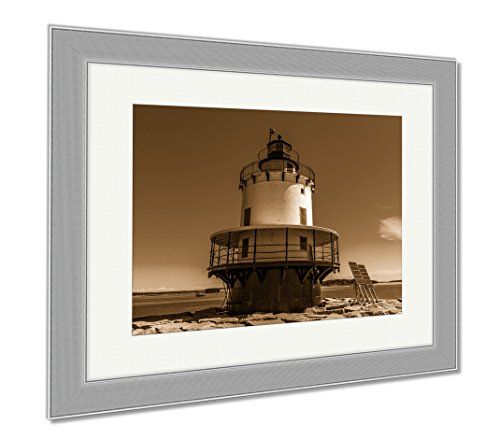 Ashley Framed Prints Spring Point Ledge Light Is A Sparkplug Lighthouse In South Portland Maine That, Wall Art Home Decoration, Sepia, 34x40 (frame size), Silver Frame, - South Portland Shop Maine Frame