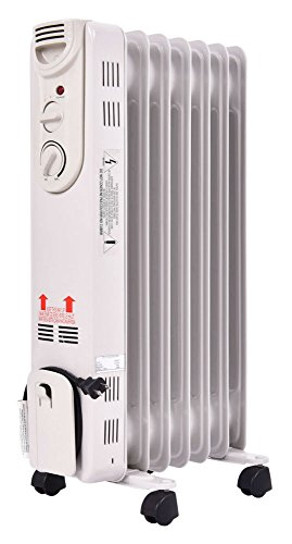 1500W Electric Oil Filled Radiator Space Heater 5-Fin Thermostat Room Radiant Oil Filled Heaters