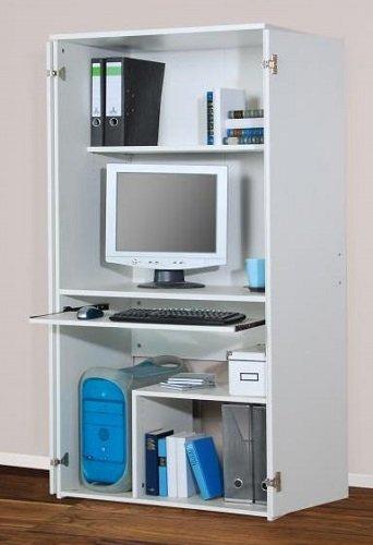 Computerschrank PC-Schrank Büroschrank weiß dekor - (1881): Amazon ...