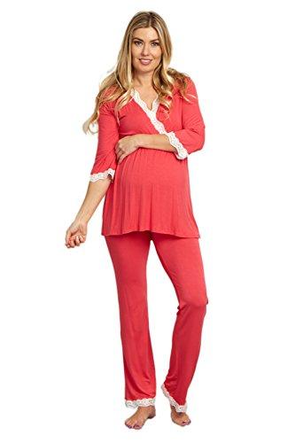 PinkBlush Maternity Deep Coral Lace Trim Maternity Pajama Pants, Large