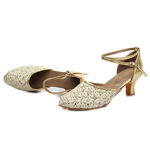 YKXLM Shoes Salsa Leatherette Dance Girls Standard Gold UKMF1802 2 Model Shoes Performance Ballroom Latin amp;Women's X0ZwX