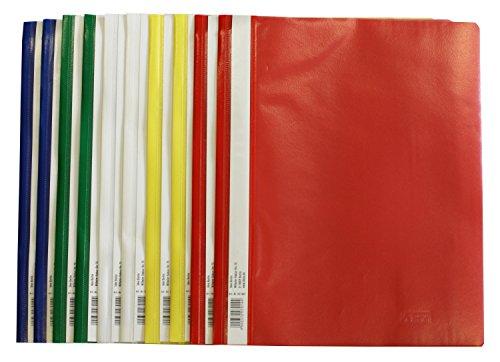 Idena 307007 - Schnellhefter A4, aus Kunststoff, 10 Stück, 5 Farben, 2 x blau/weiß/gelb/grün/rot