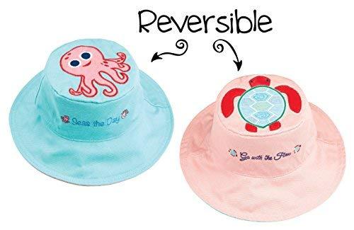 (FlapJackKids - Kids' Sun Hat - Octopus/Sea Turtle Large (4-6 yrs))