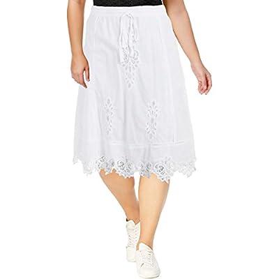 Lauren Ralph Lauren Womens Lailah Lace Inset Below Knee A-Line Skirt