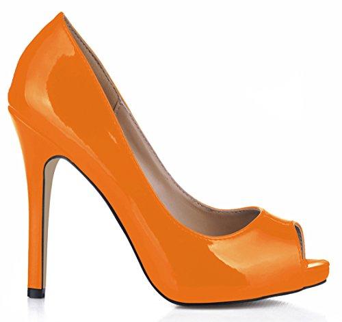 Haut Ouvert CHAU Bout Cuir Rond de Vernis Synthétique Femmes Escarpins Talon Sexy Orange Fête Aiguille Stiletto CHMILE qOUZgPdwq