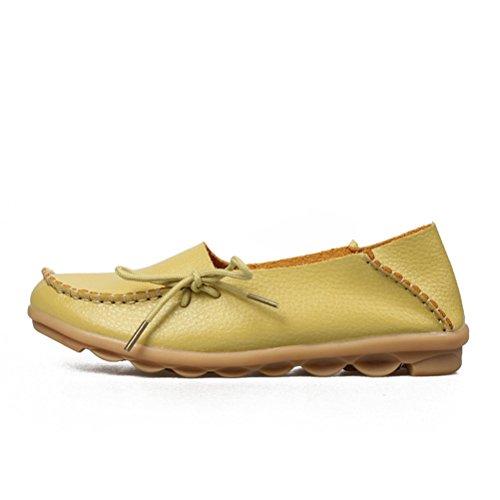 Alltid Ganska Kvinna Casual Läder Mor Loafers Båt Skor Kör Skor För Kvinnan Äppelgrön