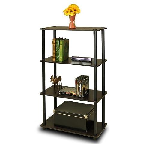Furinno (99557EX/BK) Turn-N-Tube 4-Tier Multipurpose Shelf Display Rack - Espresso/Black - Design 4 Shelf