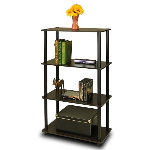 Furinno (99557EX/BK) Turn-N-Tube 4-Tier Multipurpose Shelf Display Rack - Espresso/Black (Single Bookshelf)