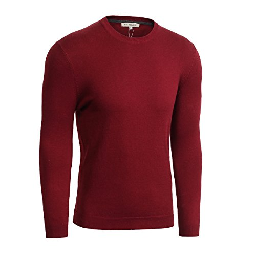 Mens Pullover Sweaters Long Sleeve Fashion Knit Cotton Regular Fit(Burgundy L)