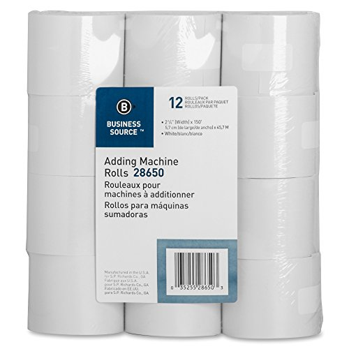 Business Source Receipt Paper 2.25 Inch x 150 Pack of 12 Rolls - White (28650) (Calculator Paper Tape)