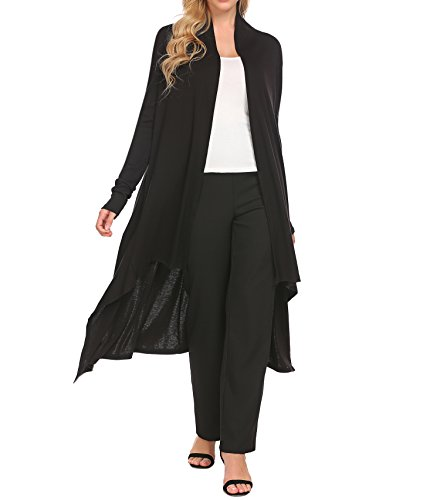 Zeagoo Women's Soft Knit Sweater Outwear Open Front Kimono Cardigans Black (Hollywood Party Outfits)