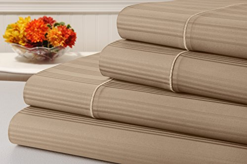 kathy ireland 400 Thread Count 100% Cotton Stripe Bed Sheet Set, Bed Sheets 4 Piece Set, Long-staple Combed Pure Natural Cotton Bedsheets, Soft & Silky Sateen Weave by Home (King, Khaki)
