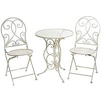 Gruppo Maruccia Set Tavolo e sedie in Metallo Shabby Chic Bianco Anticato per arredare Giardini Bar e Negozi Set di…