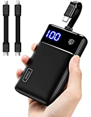 INIU Portable Charger, The Lightest Palm-Size Built-in Cable & Touch LED Display 10000mAh Power Bank, Tri-3A High-Speed Battery Pack for iPhone 12 11 Pro X 8 Plus Samsung S20 Google LG iPad Tablet etc