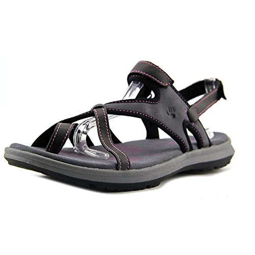 BEARPAW Womens Marlene Leather Open Toe Casual Sport Sandals, Black, Size 6.0