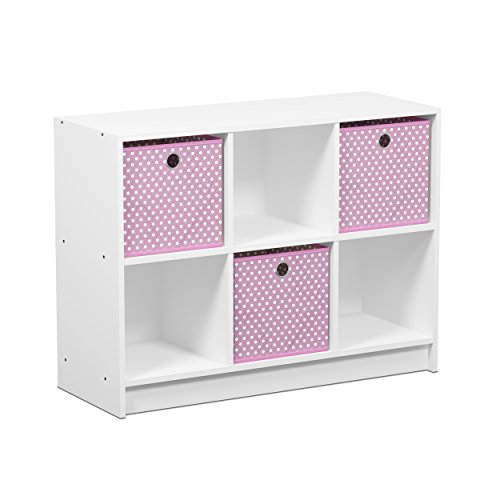 FURINNO 99940WH/LPI Basic 3x2 Cubic Bookcase Storage Shelves, White/Light Pink