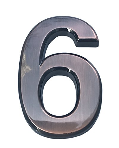 Do4U 2 Packs House & Mailbox Number 3D Radian Metal Number Self-stick Mailbox Number with Reflective Bronze Plating, For Door, House, Mailbox, Street Address Sign (2 inches, 6)