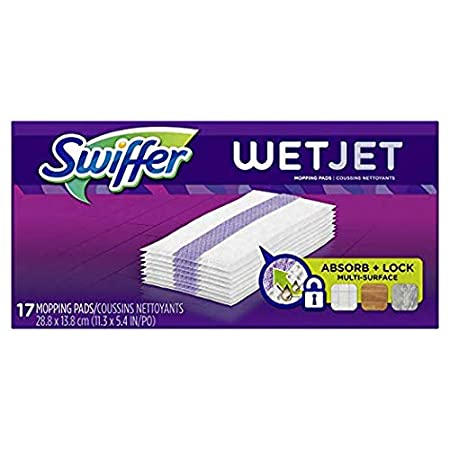 17 Count Swiffer Wetjet Hardwood Mop Pad Refills for Floor Mopping and Cleaning All Purpose Multi Surface Floor Cleaning Product