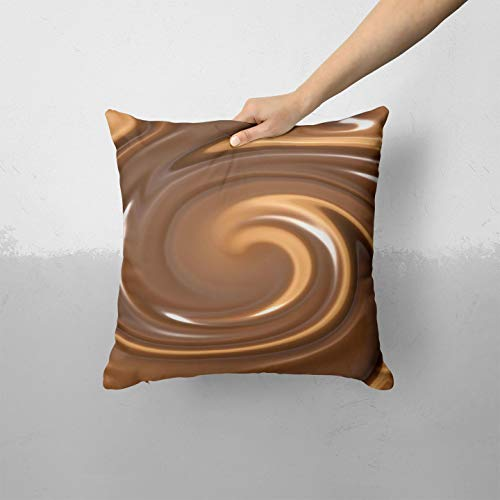 Chocolate and Carmel Swirl - Custom Decorative Home Decor Indoor or Outdoor Throw Pillow Cover for Sofa, Bed or Couch Cushion (Pillow CASE Cover ONLY)