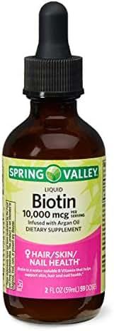 Spring Valley Liquid Biotin 10,000 mcg Argan Oil Hair, Skin, Nail Health, 2 fl oz