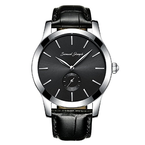 Samuel Joseph Bespoke Men's 43mm Wrist Watch with Galaxy Black Dial, Steel Case, and Black Leather Band by Samuel Joseph