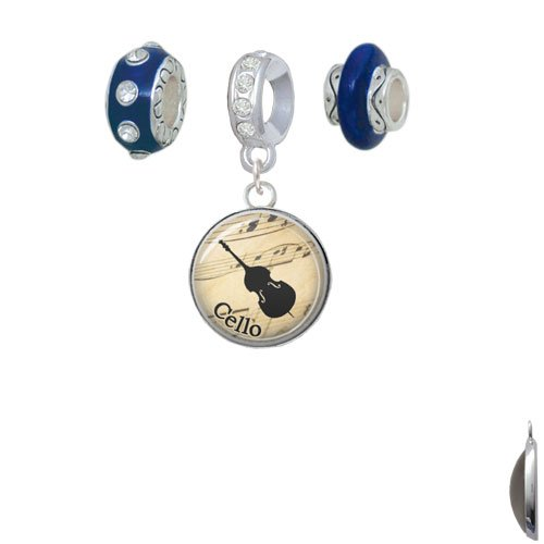 Set of 3 Cello Navy Charm Beads Silvertone Domed Music