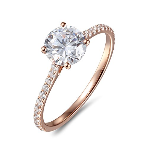 Lamrowfay 1Ct Halo Solitaire Cubic Zirconia Promise Engagement Ring in 14K Rose Gold or White Gold or Yellow Gold, 1.70cttw (Rose-Gold, 7.5) ()