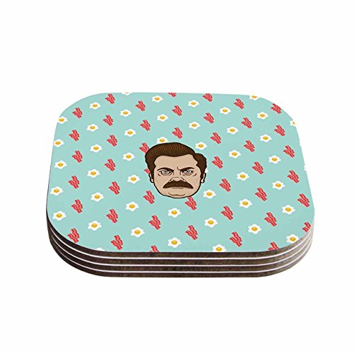 "KESS InHouse Juan Paolo ""Give Me All Of The Bacon And Eggs Parks & Recreation"" Coasters (Set of 4), 4 x 4"", Multicolor from Kess InHouse"