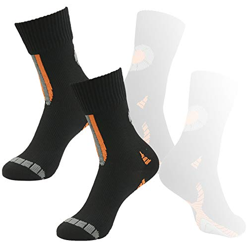 (100% Waterproof Golf Socks, RANDY SUN Men's 2 Pairs Performance Top Colorful Trail Midcalf Socks Black Small)