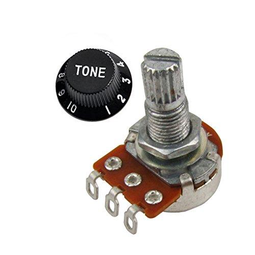 Mini Guitar Potentiometer Amp Pots, 500K 250K Audio Linear Knurled Split Shaft Fits for Les Paul guitars (A250k Taper Tone Control)