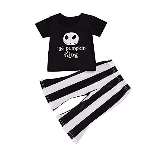 Halloween Costumes for Girls Kid Toddler Summer Clothes Outfit The Pumpkin King Short Sleeve T-Shirt + Flares Pants Black 3T