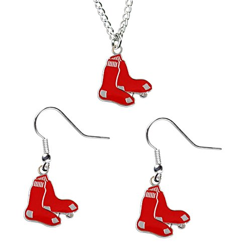 (Boston Red Sox Necklace and Dangle Earring Charm Set MLB)