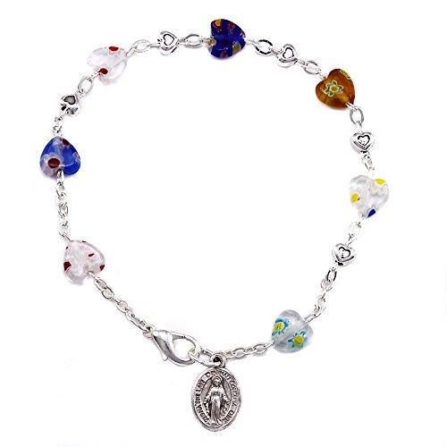 Murano Heart Shaped Beads Rosary Bracelet (Rosary Murano Bracelet)
