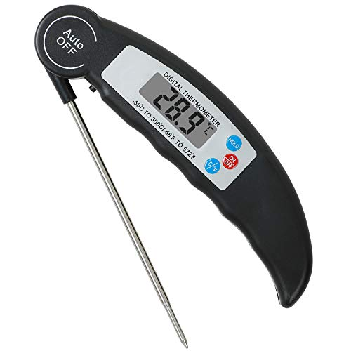 Digital Meat Grill Thermometer Instant Read Cooking Kitchen Waterproof for Grilling, Barbecue and Heated Liquid Drinks, Digital LCD Display, Collapsible 304 Stainless-Steel Long Probe,Black ()