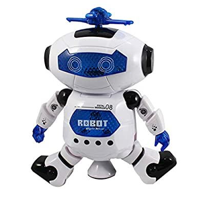 P&F Futuristic Dancing Robot Action Figure with Automatic 360 Degree Rotating Wheel, Music, Bright Led Lights: Toys & Games