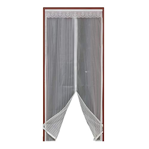 Magnetic Screen Door with Heavy Duty Mesh & Full Frame Stickers,Aopet Hands Free Mesh Curtain,Magic Breeze Door Net, Keep Bugs Out Fly Screen 35-82 Max White