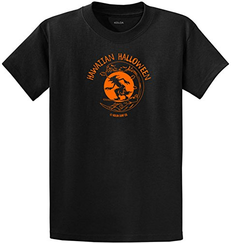 Joe's USA Koloa Surfing Halloween Witch Logo Heavyweight Cotton T-Shirt-Black/c-XL -