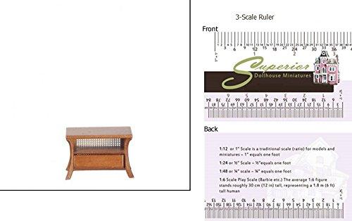 Dollhouse Miniature Walnut Sofa Table With Cane (Cane Inserts)