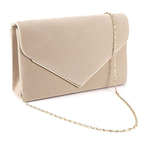 Kunstwildleder Umschlag Damentasche Abendtasche Wildleder Clutch Handtasche Beige