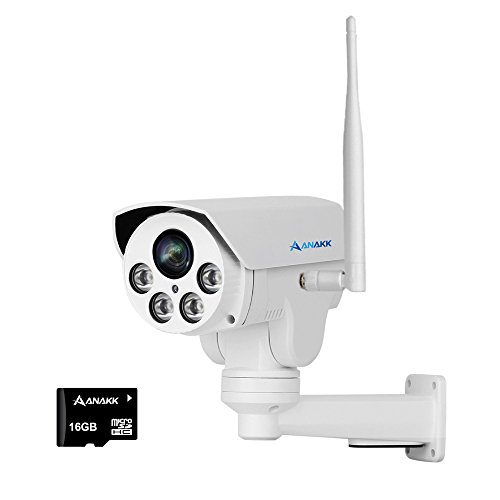 Anakk Wireless WiFi PTZ Camera, 1080P Wireless IP Bullet WiFi Security Camera Outdoor IR Night Vision with Pre-Installed 16G MicroSD Card 4X Zoom IP66 Waterproof Audio