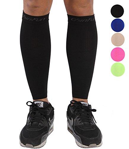 Mmhg Sleeve (ChinFun Calf Compression Sleeve 20-30mmHg Leg Support Graduated Pressure Socks Running Guards - Shin Splints Circulation Recovery Varicose Veins Pain Relief Sports Gear Men Women Black L)