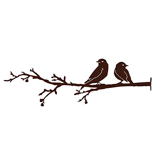 Elegant Garden Design Bluebird and Warbler on Branch, Steel Silhouette with Rusty Patina