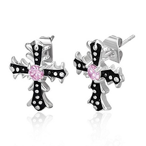 Stainless Steel Black Silver Tone White Pink CZ Religious Cross Stud Earrings