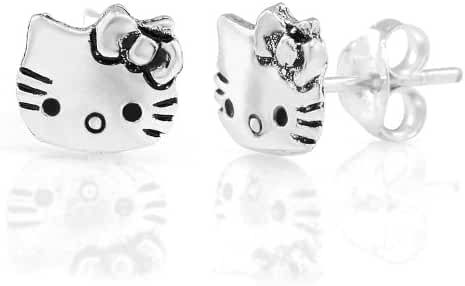 925 Sterling Silver Tiny Hello Kitty Cat 9 mm Post Stud Earrings