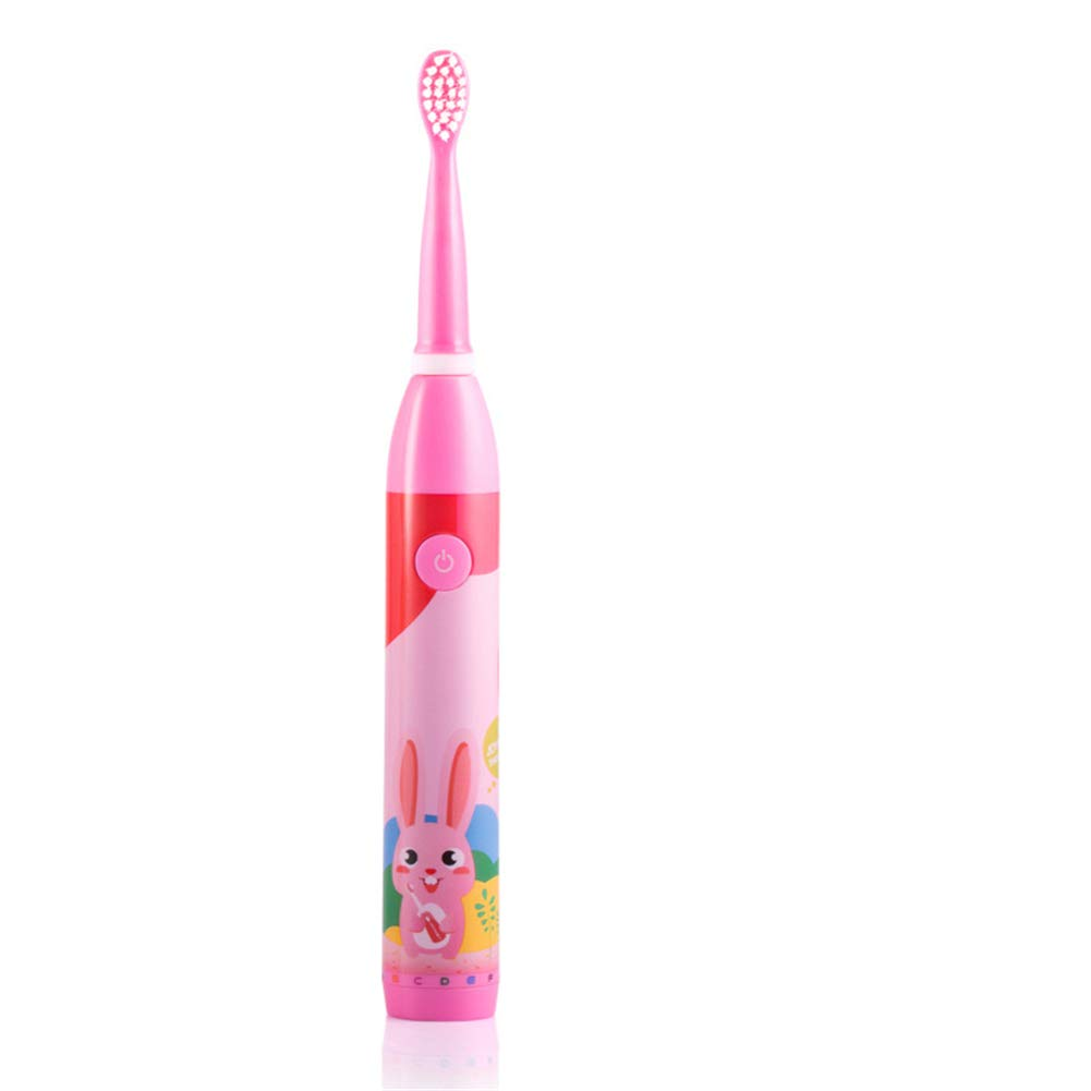 USB Battery Powered Toothbrush, One-button intelligent operation, Ipx7 waterproof 3-speed mode, clean, white, sensitive, ABS+ DuPont hair brush head-Pink