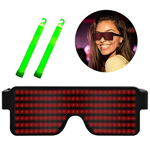 Suruid Dynamic LED Glowing Glasses USB Rechargeable LED Light Up Glasses with Flashing Neon, 8 Patterns LED Luminous Eyeglasses for Parties, Nightclub, Halloween, Concerts-Red ( with 2 Light Stick)]()