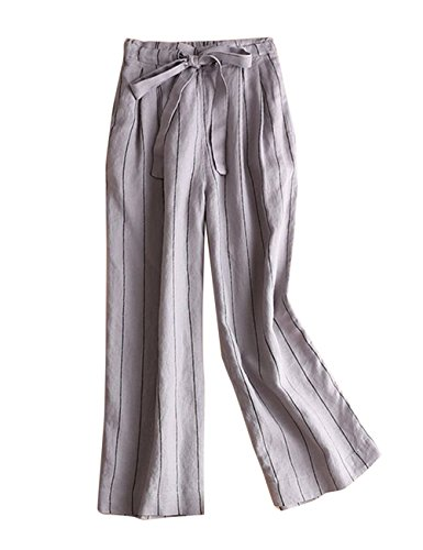 IXIMO Women's Wide Leg Pants 100% Linen Striped Capri Trousers Drawstring Back Elastic Waist Palazzo Pants Gray L